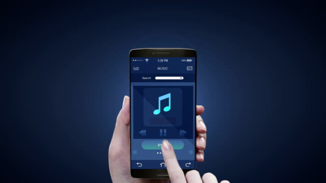 Touching application on mobile screen, Listening mobile music, entertainment music player. 3D icon animation.