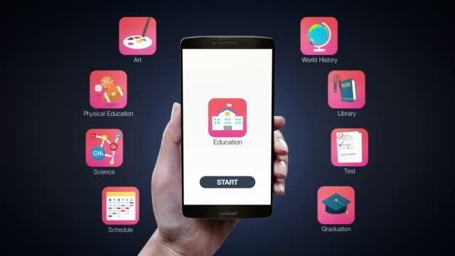Touching Education application on mobile screen, Education contents(included Alpha) video