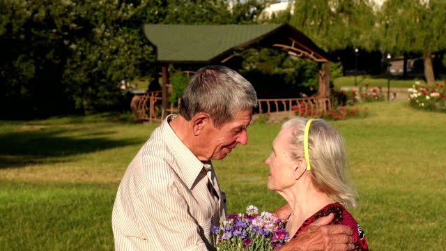 Touching elderly couple hugging in park. video