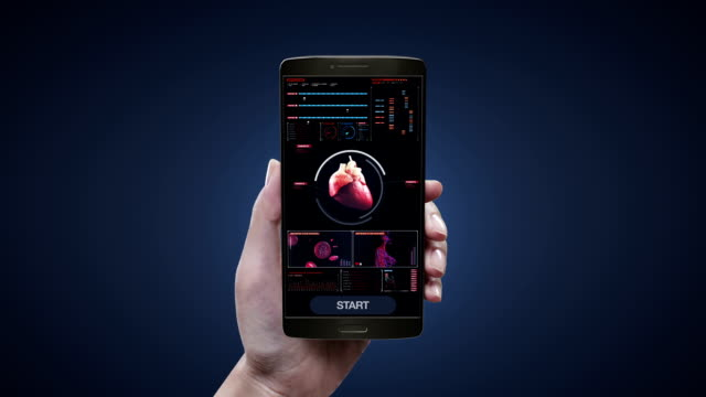 Touching heart health care diagnosis application on mobile, smart phone, Scanning heart. Human cardiovascular system. medical technology. – Video
