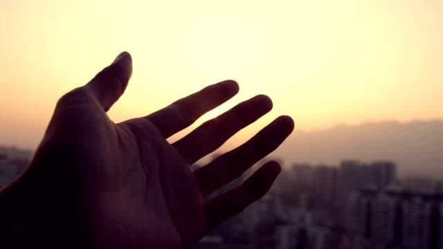 şehir gün batımında güneş ışığına dokunmak - tutmak stok videoları ve detay görüntü çekimi
