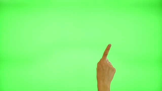 17 touchscreen gestures - female hand, on a green screen video
