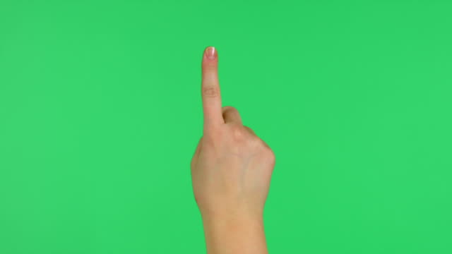 Touchscreen tap and swipe hand gestures on green screen video