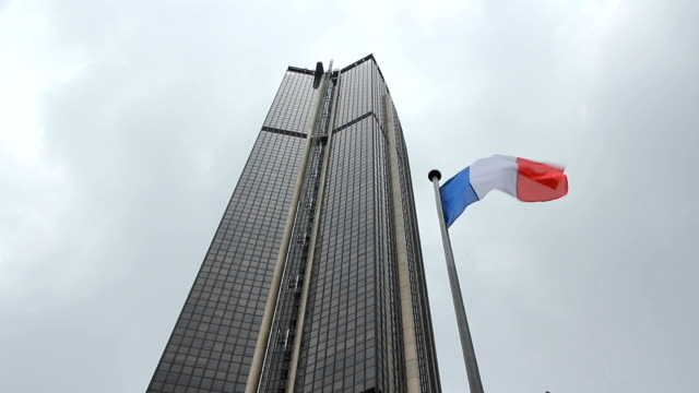 Tour Montparnasse with French Flag. video