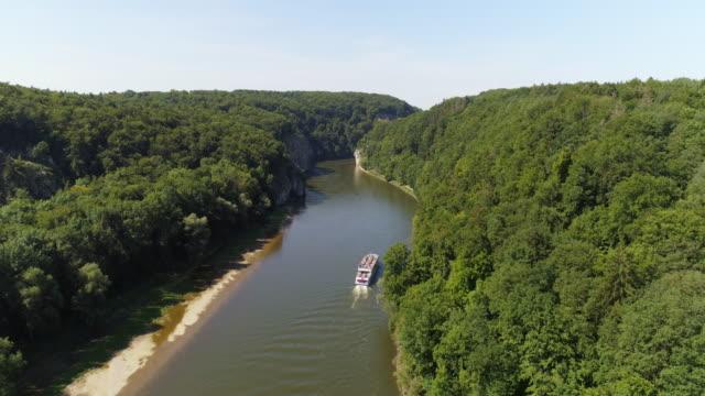 Tourboat Passing Through The Danube Gorge At Kelheim-Weltenburg video