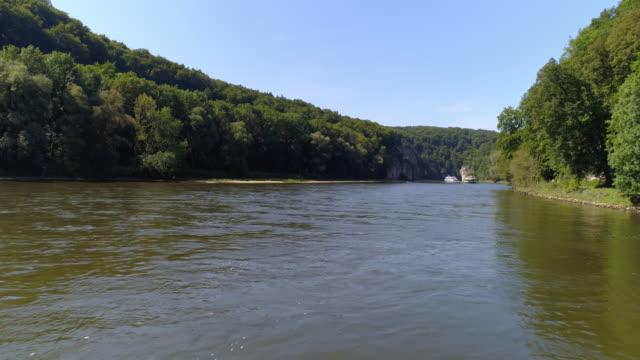 Tourboats Passing Through The Danube Gorge At Kelheim-Weltenburg video