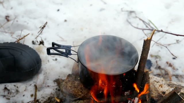 tourism, cook soup from the fish at the stake in a hike video