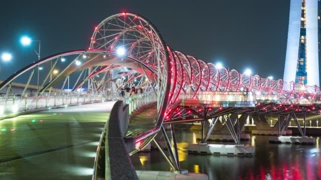 vídeos y material grabado en eventos de stock de 4k tl: turismo peatonal en puente. - hélice forma geométrica