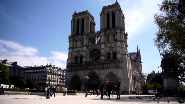 turista alla cattedrale di notre dame a parigi, francia - gargoyle video stock e b–roll