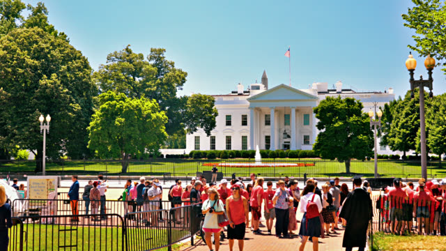 Tourist at Lafayette Square and White House. Cityscape president stock videos & royalty-free footage