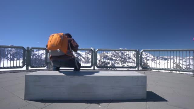 Tourist at Swiss Alps Schilthorn video