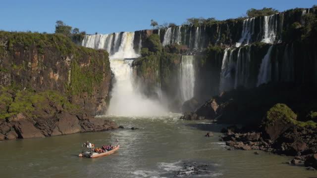 Tourist Boat at Iguazu Falls, Argentina video