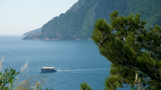 tourist boat sailing on the sea in the Bay in Marmaris