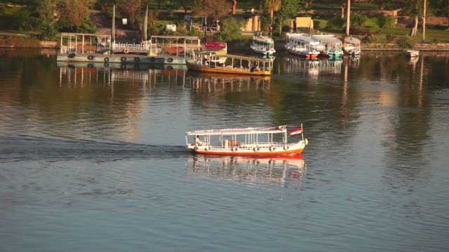 Tourist boats on Nile river near Aswan in Egypt. video