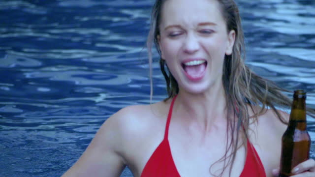 tourist dancing and having fun at the pool. - bachelor party stock videos and b-roll footage
