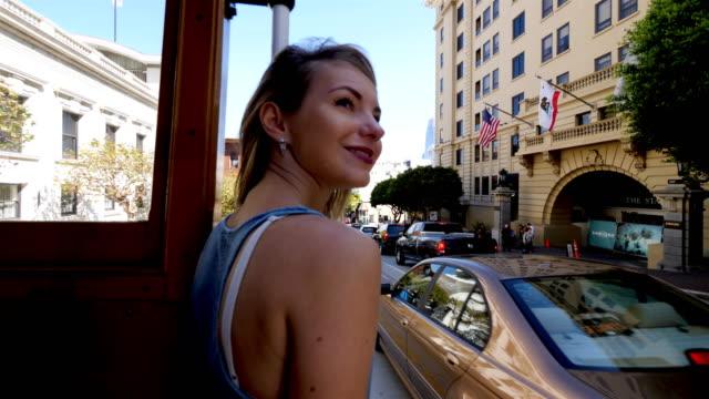 Tourist Exploring San Francisco Tourist Exploring San Francisco, CA cable car stock videos & royalty-free footage