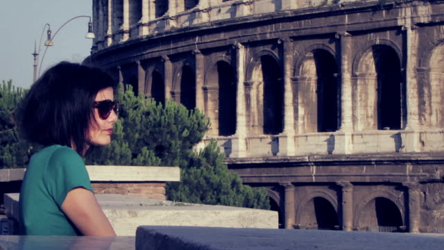 tourist looks at the coliseum (Rome, Colosseum ,Colosseo) video