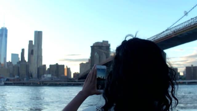 Tourist making New York City memories video