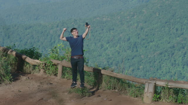 Tourist making selfies on the Doi Pui view point, Chiang Mai, Thailand video