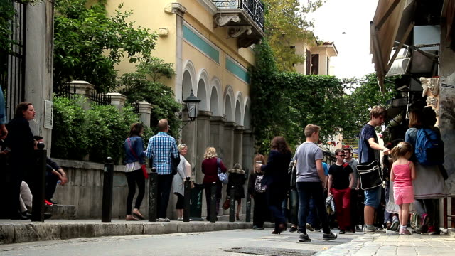tourist people walking in Athens street: crowd, people, summer, travel video