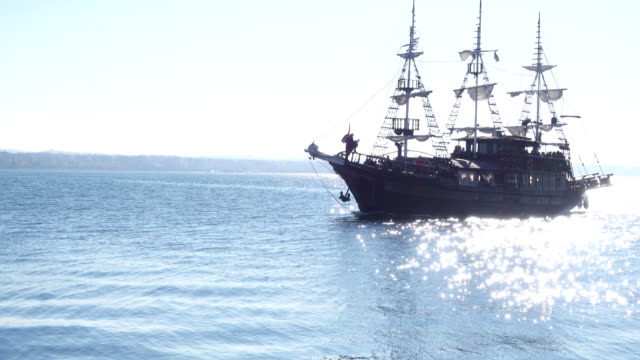 Tourist pirate ship sails by sea