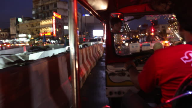 tourist riding Tuk Tuk in Bangkok video