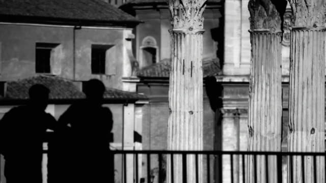 Tourist silhouettes  at the Roman Forum in Rome Tourist silhouettes  at the Roman Forum in Rome black and white architecture stock videos & royalty-free footage
