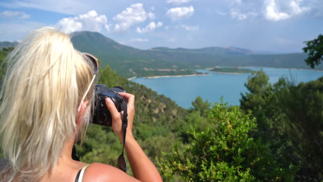 WS Tourist taking pictures of the Lake of Sainte-Croix