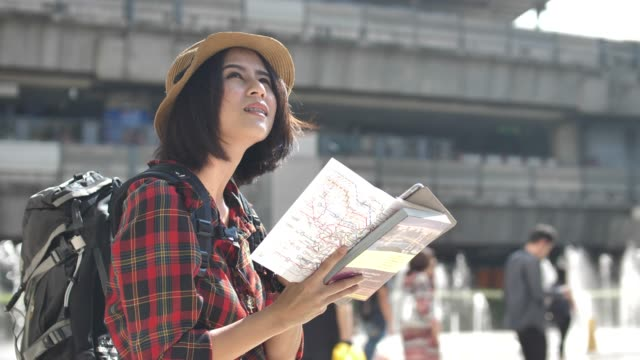 Tourist with Map in city video