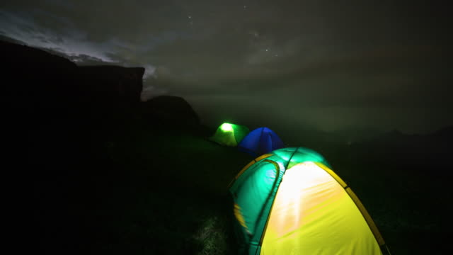Touristic tent and dark storm clouds over hill video