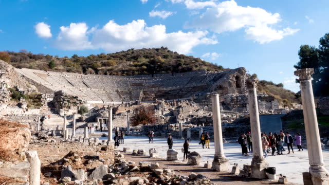 Tourists before Theatre of Ephesus Ancient City at sunny day, Timelapse Turkey video