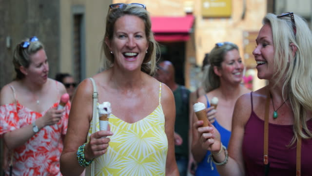 tourists eating ice cream - bachelorette party stock videos & royalty-free footage