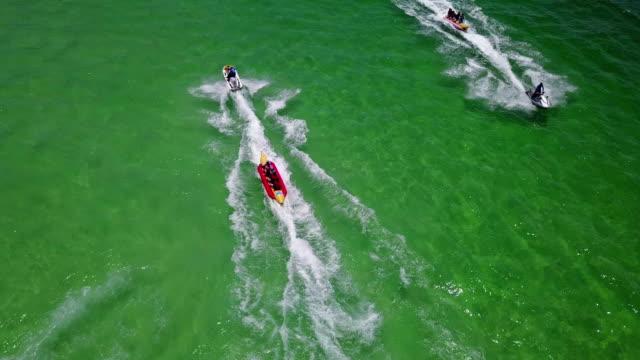 4K Tourists enjoying ride a banana boat video