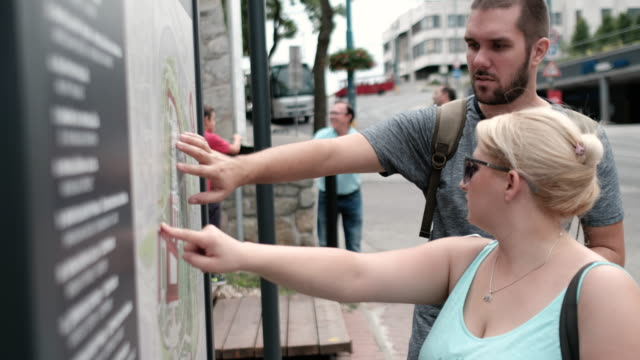 Tourists looking at the map of the city video