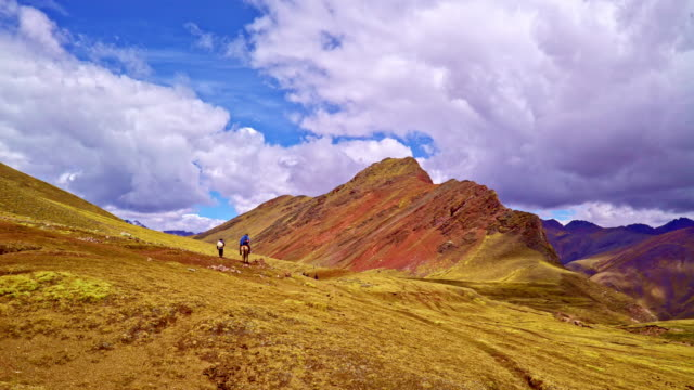 Tourists on horse to the Rainbow Mountains Peru, Peru video
