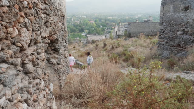 Tourists Path Ruin Medieval Castle Stone Walls