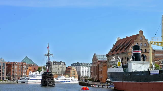Tourists ride on sailing tour boat, Gdansk, Poland video