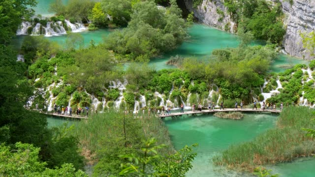 tourists walking the boardwalk over a plitvice lake in plitvice lakes national park, croatia. there are beautiful small cascades. turquoise waters of the lake are surrounded with rich green flora. uhd - национальный парк плитвицкие озёра стоковые видео и кадры b-roll