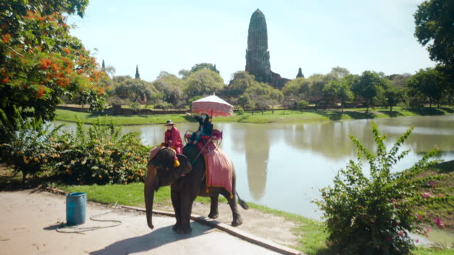 Tourists, young Asian women and friends to travel to the ancient historical architecture of Ayutthaya. Near Bangkok, Thailand.Tourist  rides through the city on elephants
