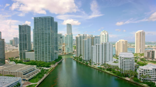 AERIAL Towards Downtown  from the Brickell Key in Miami, Florida video