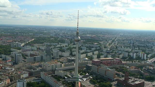 TV Tower Alexanderplatz Berlin Germany Aerial video