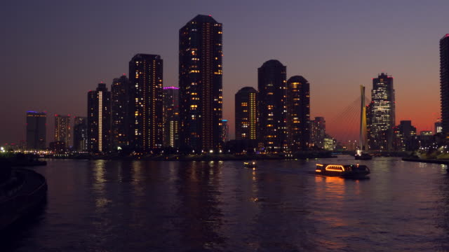 Tower apartment at dusk, Sumida River, Tokyo