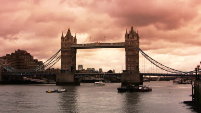 Tower Bridge and Thames River, London, sunset (HD, PAL, NTSC) video