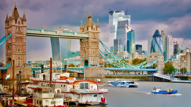 Tower Bridge. Business downtown. Travel. Thames river. Boat.