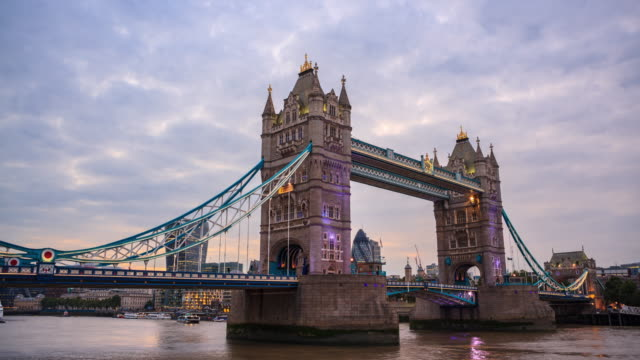 Tower Bridge in London, Day to Night time-lapse video