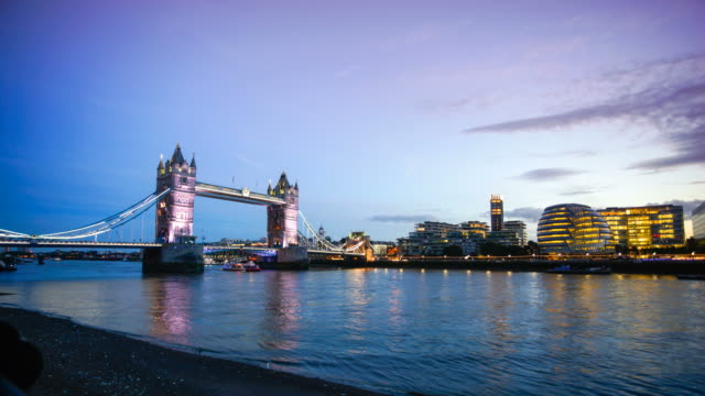 4K Tower Bridge, London, England in summer with time-lapse video