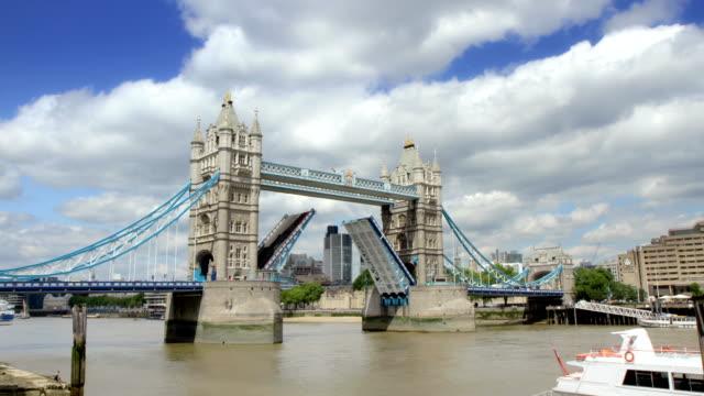 Tower Bridge, London opening and closing. HD video