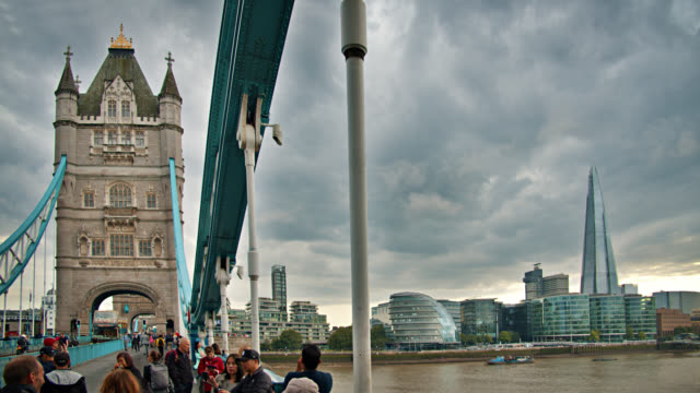 Tower Bridge. The Shard. People. Skyline. Thames river. London