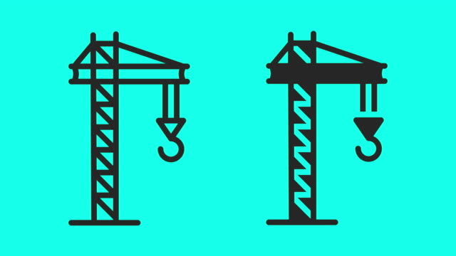 Tower Crane Icons - Vector Animate Tower Crane Icons Vector Animate 4K on Green Screen. crane construction machinery stock videos & royalty-free footage