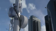 istock 5G tower in metropolitan city, high-speed Internet connection, mobile network 1259879942